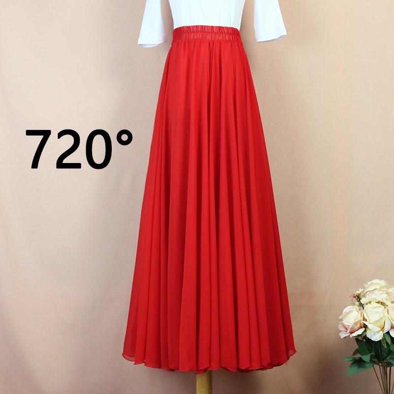 红色半身裙 雪纺半身裙女高腰720度大摆裙子红色新疆舞舞蹈裙广场舞半身长裙_推荐淘宝好看的红色半身裙