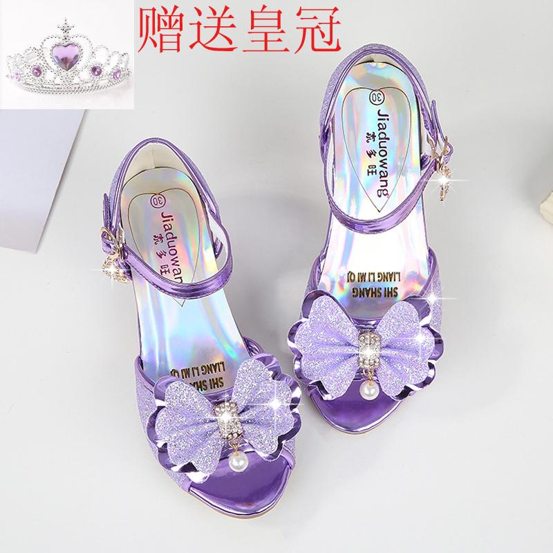 紫色鱼嘴鞋 女童凉鞋2020新款韩版夏季公主高跟鞋儿童鱼嘴露趾鞋女孩紫色凉鞋_推荐淘宝好看的紫色鱼嘴鞋