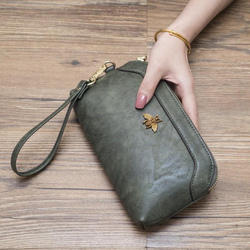 绿色手拿包 2019新款欧美长款钱包大容量女拉链零钱包多功能手拿包女士手机包_推荐淘宝好看的绿色手拿包