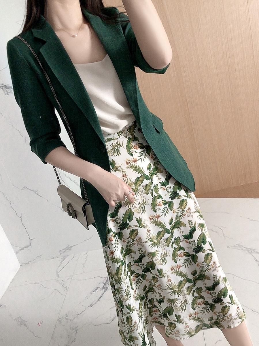 绿色小西装 衬托气质祖母绿色日系收腰显白小西服外套修身西装女上衣职场轻奢_推荐淘宝好看的绿色小西装