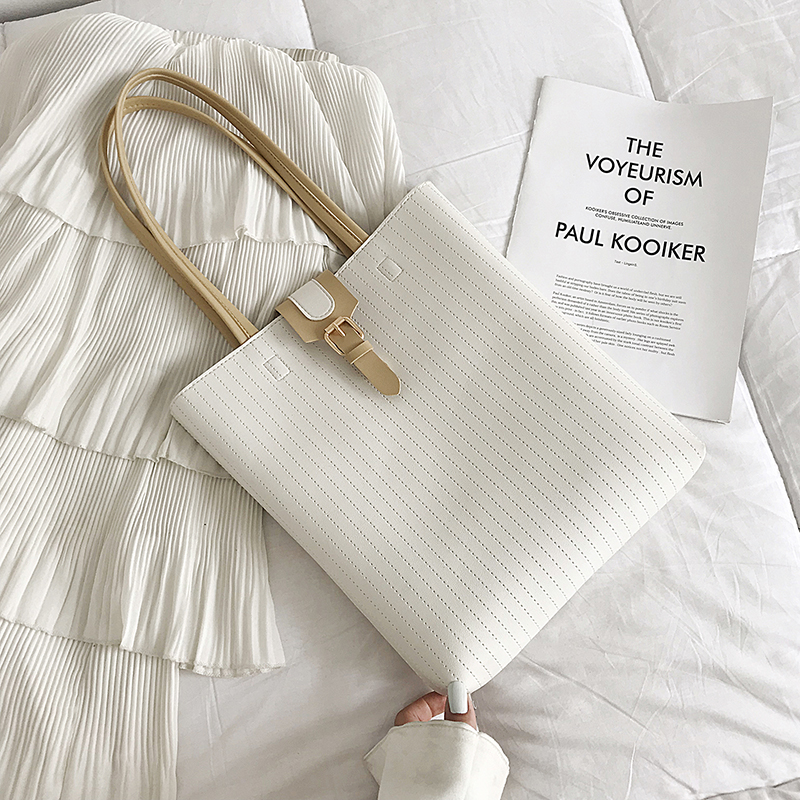 白色手提包 波卓尔车缝线针扣托特包2020新款潮复古时尚百搭手提单肩包包女包_推荐淘宝好看的白色手提包