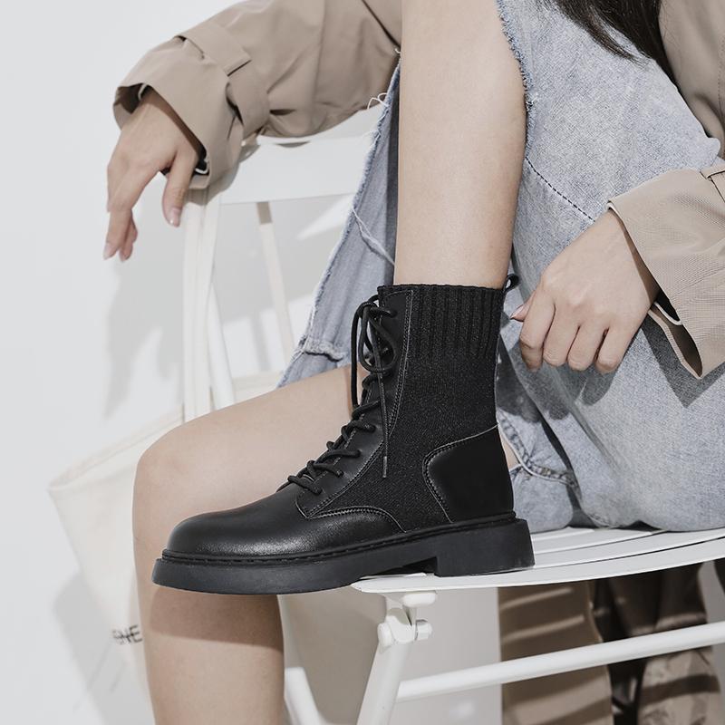 英伦短靴 内增高马丁靴女英伦风2020年秋冬季新款百搭小短靴瘦瘦袜靴潮ins_推荐淘宝好看的女英伦短靴