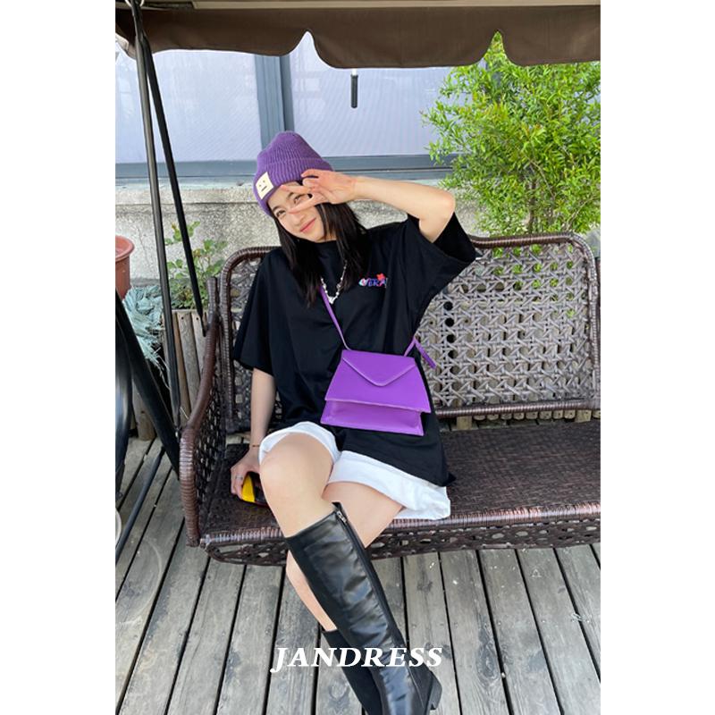 紫色信封包 JANDRESS 小众设计复古紫色翻盖信封包豆腐小方包单肩斜挎包包女_推荐淘宝好看的紫色信封包