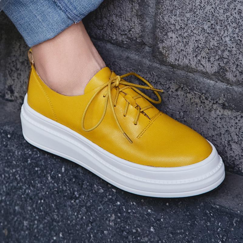 黄色松糕鞋 2020春季新款厚底系带真皮单鞋灰色松糕鞋黄色休闲平底牛皮板鞋女_推荐淘宝好看的黄色松糕鞋