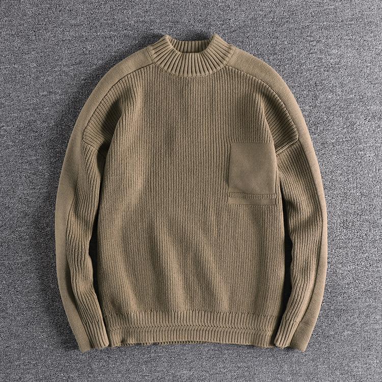 欧美男士高领毛衣 冬季宽松潮流加厚青年毛衣提花工艺简约纯色欧美男士针织衫_推荐淘宝好看的欧美男高领毛衣