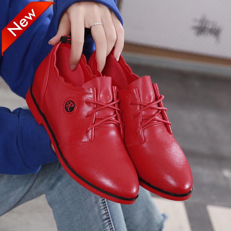 红色平底鞋 红色皮鞋女2021春秋新款平底单鞋纯真皮内增高平跟中年女士休闲鞋_推荐淘宝好看的红色平底鞋