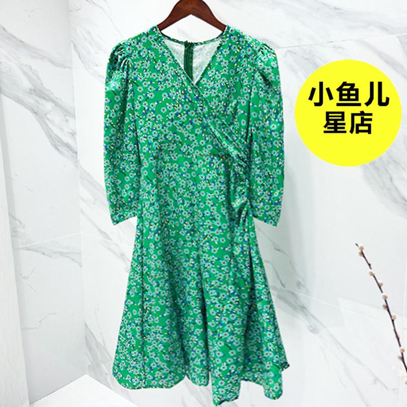 八分袖连衣裙 泰国度假风绿色碎花裙减龄小清新V领防晒八分袖雪纺宽松连衣裙夏_推荐淘宝好看的八分袖连衣裙