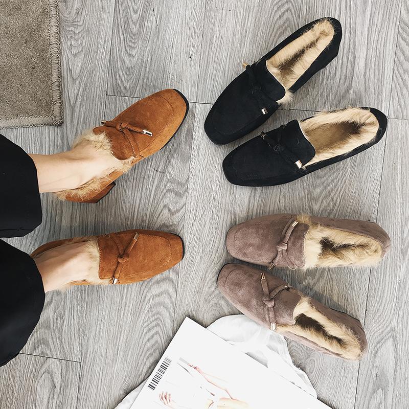 英伦豆豆鞋 毛毛鞋女冬2020新款加绒韩版外穿百搭豆豆鞋英伦风方头中粗跟单鞋_推荐淘宝好看的女英伦豆豆鞋