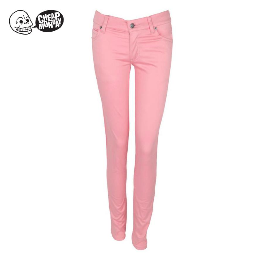 粉红色牛仔裤 1折Cheap Monday修身窄脚粉红色铅笔小腿女牛仔长裤_推荐淘宝好看的粉红色牛仔裤