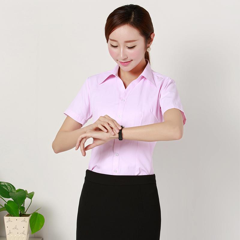 女士短袖衬衫 夏装短袖女衬衫白职业装上班工作服条纹工装粉色衬衫大码衬衣修身_推荐淘宝好看的女短袖衬衫
