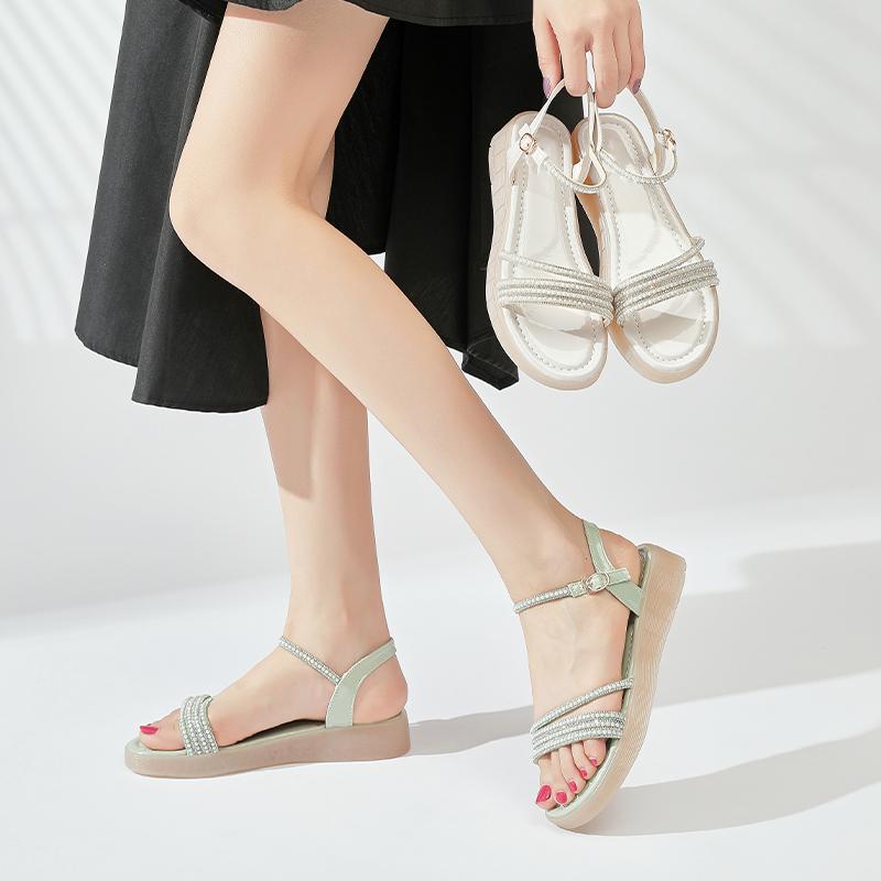 低跟坡跟鞋 阿比让新款时装凉鞋坡跟亮片仙女风百搭一字带文艺低跟休闲凉鞋子_推荐淘宝好看的低跟坡跟鞋