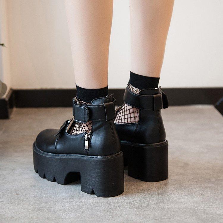 黑色厚底鞋 黑色chic小皮鞋女英伦2020秋季新款日系学院风cosplay厚底松糕鞋_推荐淘宝好看的黑色厚底鞋