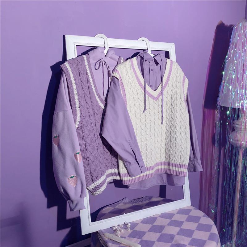 紫色马甲 紫色无袖毛衣针织衫马甲外套宽松麻花韩版日系复古女chic网红_推荐淘宝好看的紫色马甲