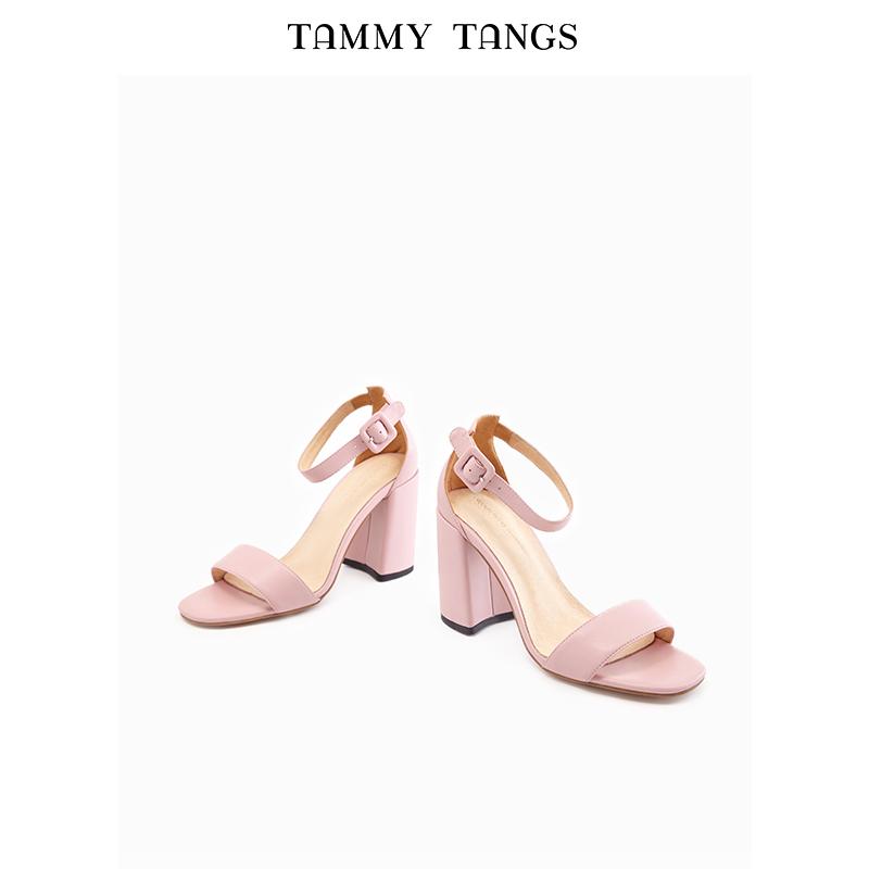 粉红色凉鞋 糖力 夏季新款粉红色欧美时尚粗跟高跟露趾一字扣带凉鞋女鞋_推荐淘宝好看的粉红色凉鞋