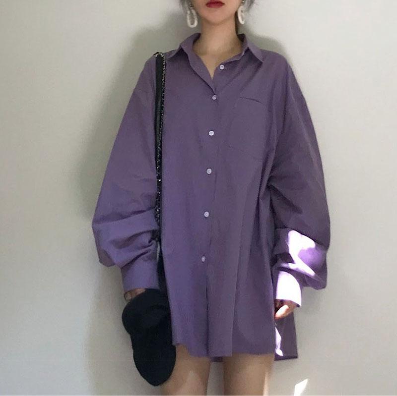 紫色衬衫 樱田川岛chic韩版初春复古港味设计感小众轻熟紫色长袖衬衫上衣女_推荐淘宝好看的紫色衬衫