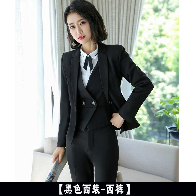 女士休闲西服 女士西服套装三件套四件套韩版休闲职业面试正装_推荐淘宝好看的女休闲西装