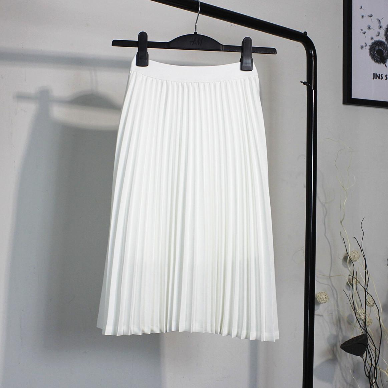 白色半身裙 2020春夏装新款韩版雪纺白色百褶裙半身裙女裙中长裙高腰显瘦_推荐淘宝好看的白色半身裙