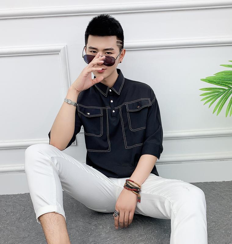 男装衬衫 不二先生夏季英伦条纹五分袖衬衫男帅气中袖潮流韩版休闲网红衬衣_推荐淘宝好看的男衬衫