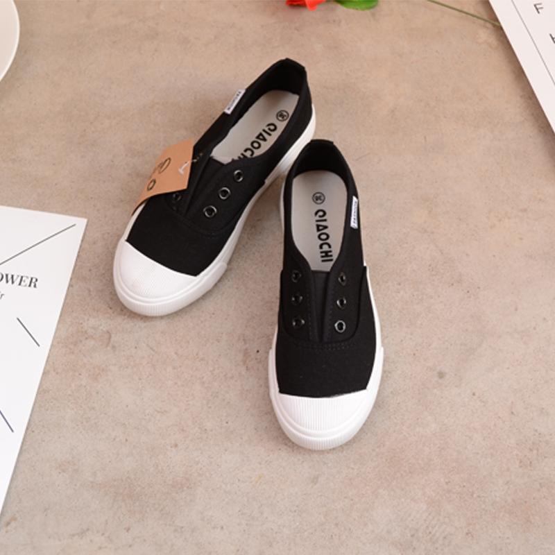 帆布鞋 欧美ulzzang套脚韩版小白鞋板鞋秋季乐福鞋低帮女式休闲鞋帆布鞋_推荐淘宝好看的女帆布鞋