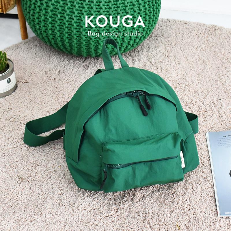 绿色双肩包 口嘎kouga小巧双肩包 运动纯色简约背包女士可爱书包校园旅行新品_推荐淘宝好看的绿色双肩包