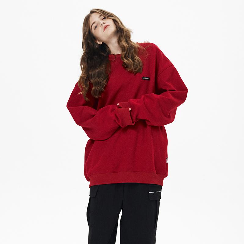 红色卫衣 【KFCC】Turnthetables潮牌宽松上衣日系减龄加绒复古红色卫衣男_推荐淘宝好看的红色卫衣
