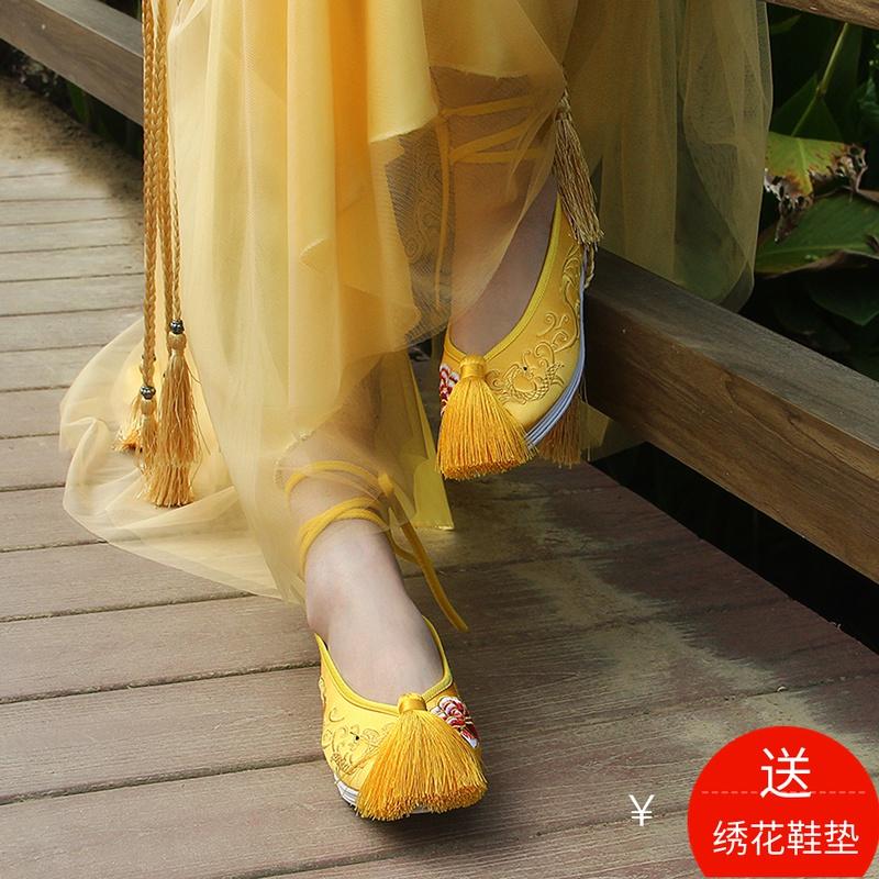 黄色平底鞋 婚鞋女秀禾鞋新娘鞋子平底千层底绣花鞋黄色上轿鞋2018新款新娘秋_推荐淘宝好看的黄色平底鞋