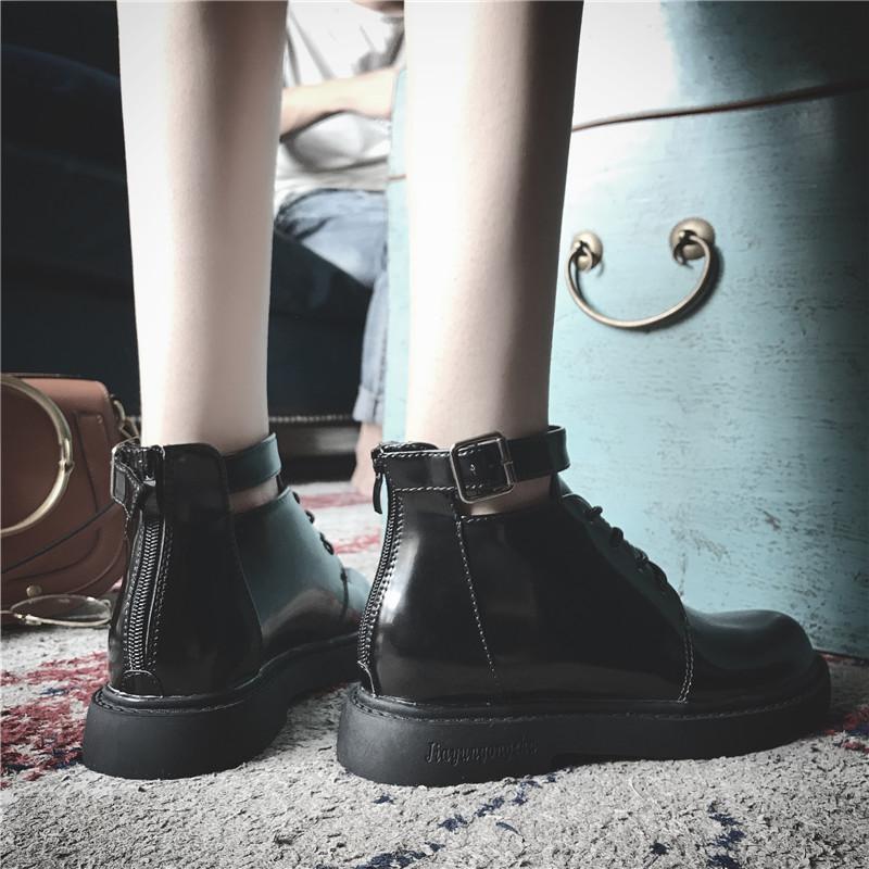 韩版短靴 马丁靴女韩版新款时尚百搭小皮鞋女学院风低帮平底短靴女厚底靴子_推荐淘宝好看的女韩版短靴