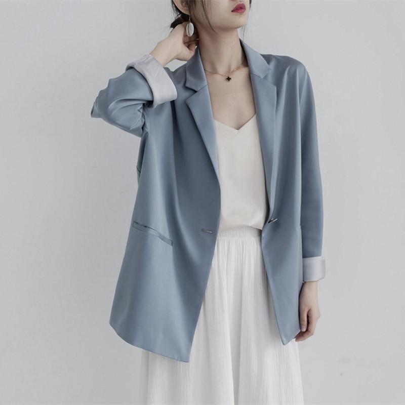 小西服 2020早秋新款日系雾霾蓝长袖一粒扣小西装女外套宽松法式时髦西服_推荐淘宝好看的女小西服