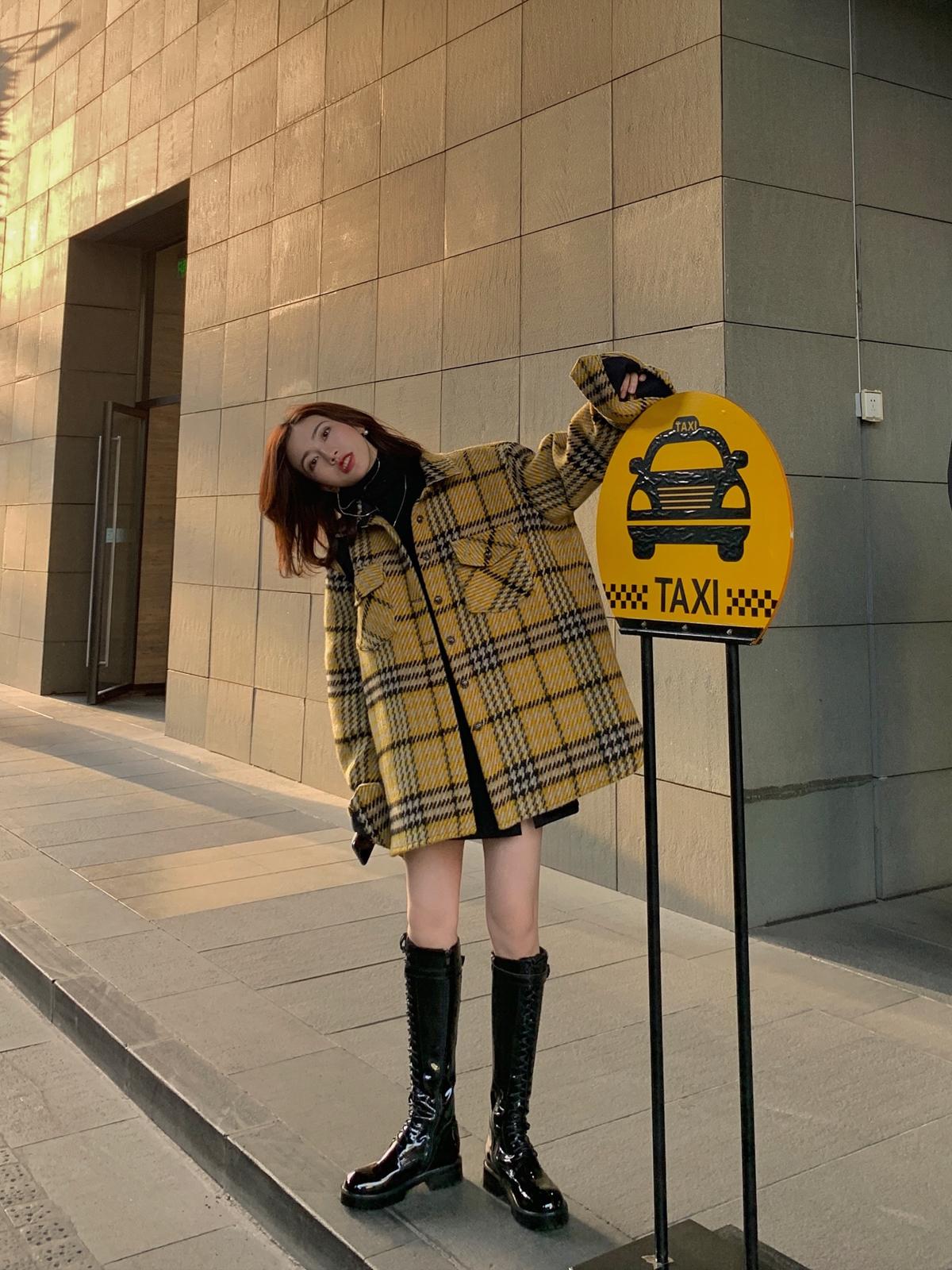 毛呢韩版外套 大于诗集 格纹羊毛加厚衬衫外套女 毛呢复古韩版宽松呢子大衣秋_推荐淘宝好看的女毛呢韩版外套
