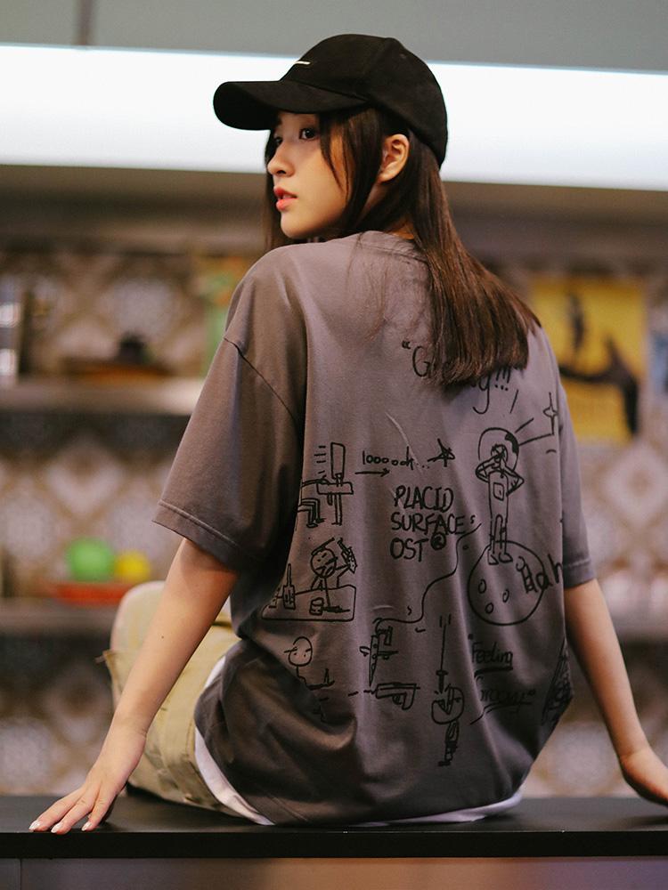 手绘情侣t恤 PSO Brand 19SS5 原创设计手绘涂鸦宽松男女情侣趣味纯棉短袖T恤_推荐淘宝好看的女手绘情侣t恤