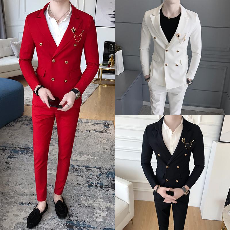 红色小西装 红色小西装男长袖套装韩版修身帅气免烫双排扣夜场上班显瘦西装潮_推荐淘宝好看的红色小西装
