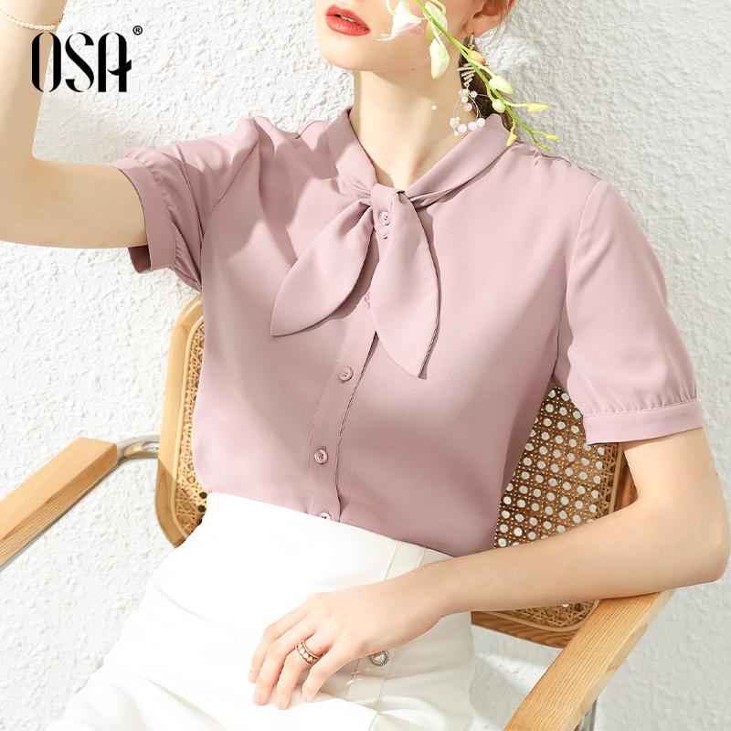 紫色雪纺衫 OSA夏天紫色女士衬衫设计感小众短袖衬衣雪纺上衣夏季2020年新款_推荐淘宝好看的紫色雪纺衫