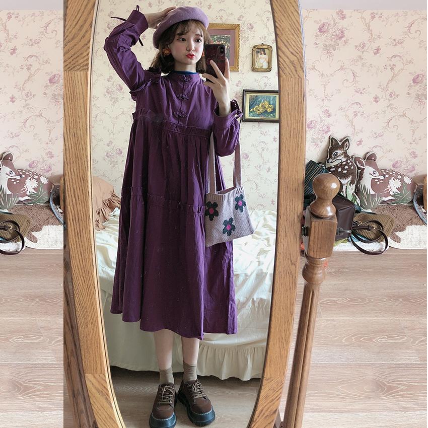 紫色连衣裙 苯小双秋冬原创复古宽松连衣裙改良紫色盘扣裙小个子灯笼长袖秋款_推荐淘宝好看的紫色连衣裙