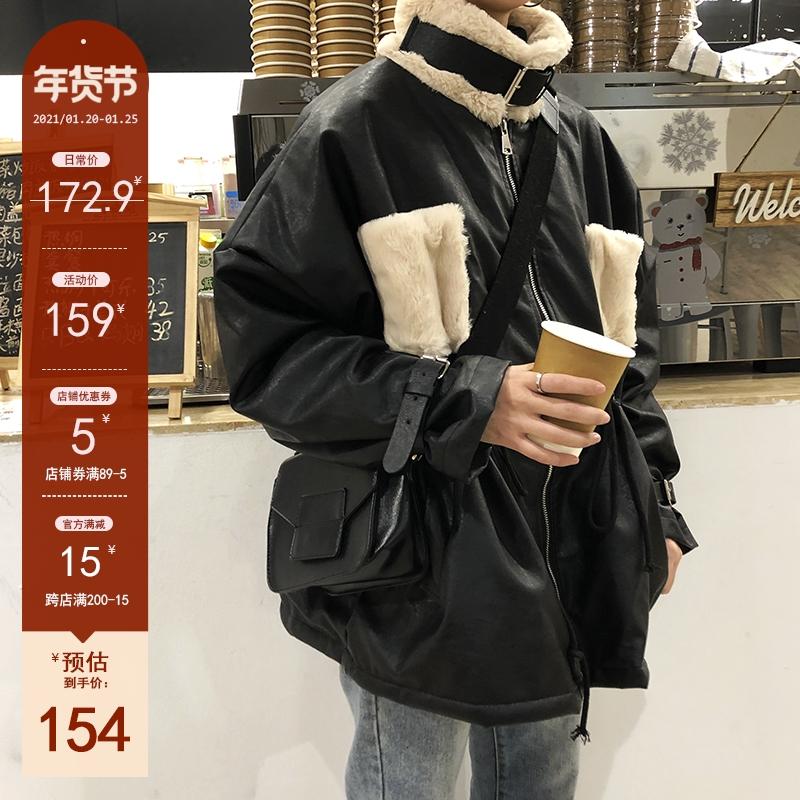 黑色皮衣 花田橱窗黑色皮衣外套女加绒加厚韩版冬季2020潮港风羊羔毛机车服_推荐淘宝好看的黑色皮衣