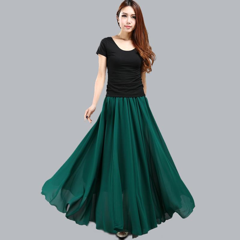 绿色半身裙 蕗依新款春夏季绿色雪纺半身长裙女士大摆仙女裙沙滩度假裙子_推荐淘宝好看的绿色半身裙