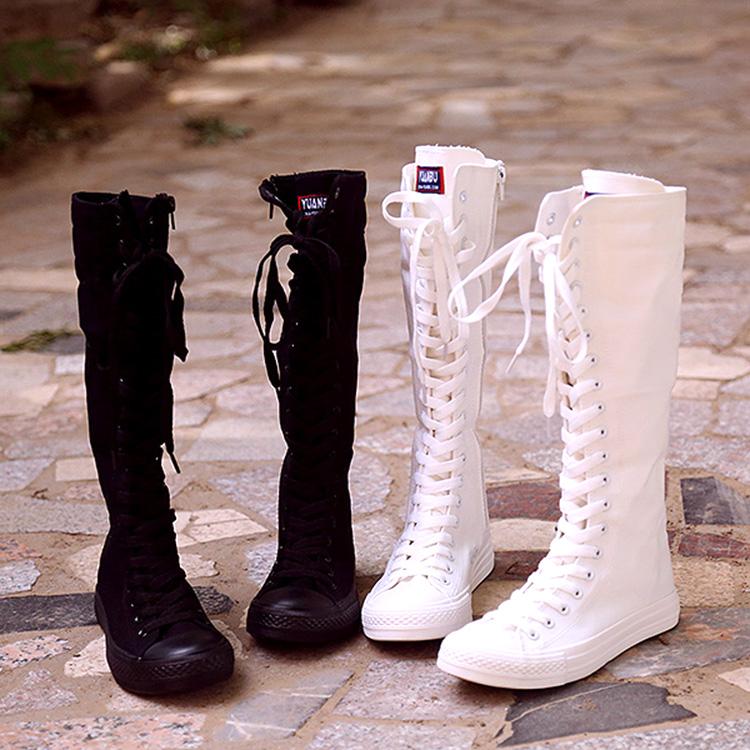 帆布鞋 2018远步韩版高帮女式休闲帆布鞋拉链长筒靴子舞台演出靴帆布靴女_推荐淘宝好看的女帆布鞋
