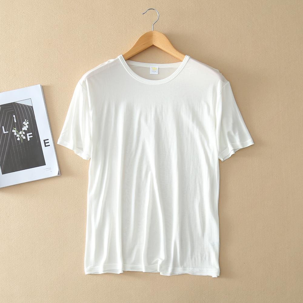 男士针织衫 包邮夏季100%桑蚕丝针织真丝男士短袖T恤圆领汗衫凉爽舒适 有3XL_推荐淘宝好看的男针织衫