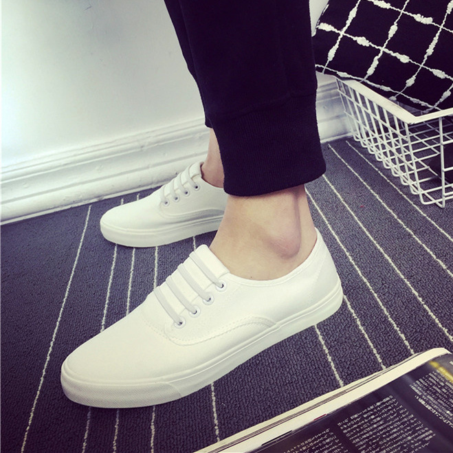 白色帆布鞋 春季男鞋低帮潮鞋白色男士帆布鞋休闲鞋板鞋一脚蹬懒人鞋学生布鞋_推荐淘宝好看的白色帆布鞋