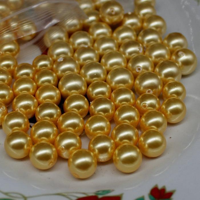 黄色贝壳包 一包价 DIY天然贝壳仿南洋金色珍珠 6-14mm半孔黄色贝珠散珠圆珠_推荐淘宝好看的黄色贝壳包