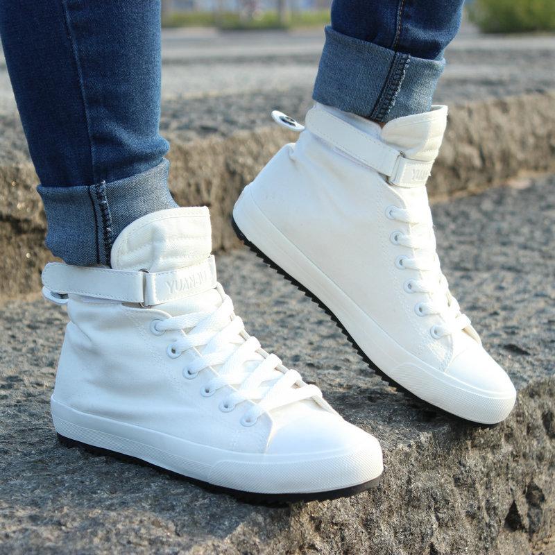 白色帆布鞋 冬季男士白色布鞋韩版高帮帆布鞋休闲板鞋加绒加厚男棉鞋小白鞋潮_推荐淘宝好看的白色帆布鞋