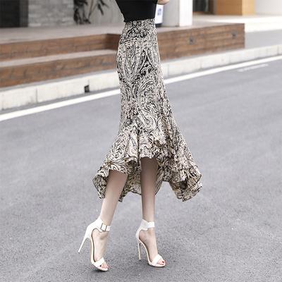 半身裙 雪纺包臀半身裙女2020夏季新款修身中长款不规则荷叶边鱼尾裙子潮_推荐淘宝好看的半身裙