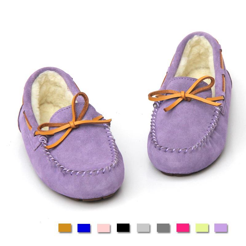 紫色豆豆鞋 新品系带蝴蝶结加棉羊毛情侣豆豆鞋男女士真牛皮 休闲棉鞋淡紫色_推荐淘宝好看的紫色豆豆鞋