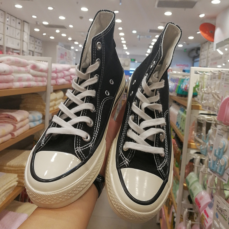 黑色帆布鞋 1970s复刻2020夏季高帮黑色经典百搭ulzzang日常休闲学院风帆布鞋_推荐淘宝好看的黑色帆布鞋