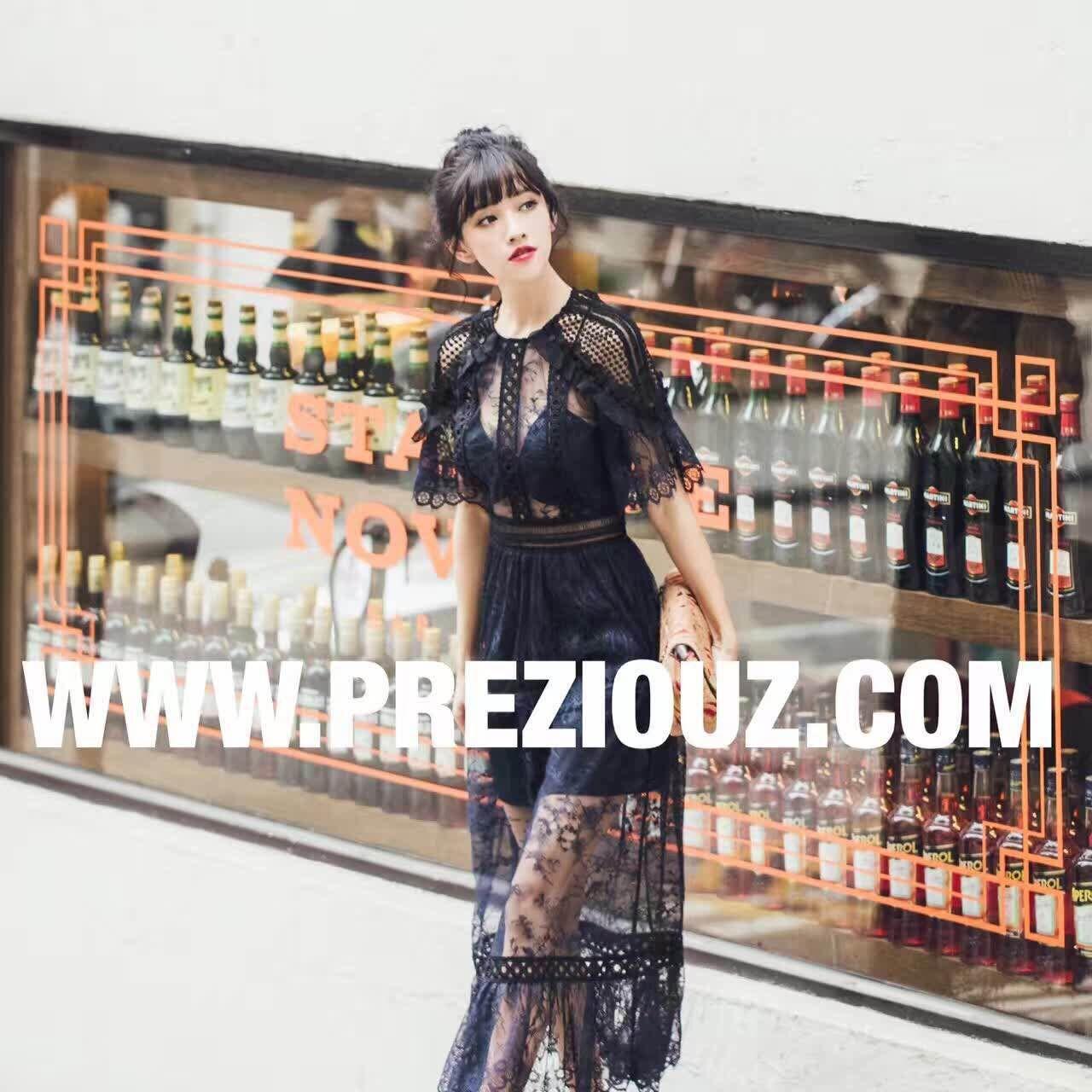 黑色蕾丝连衣裙 2855#春黑色蕾丝波浪木耳边性感连衣裙_推荐淘宝好看的黑色蕾丝连衣裙