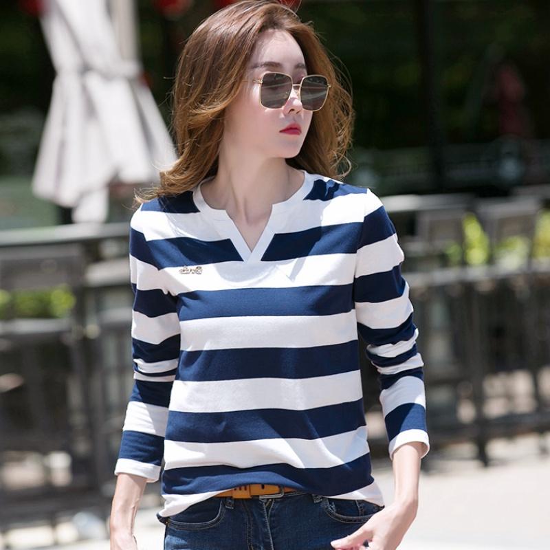 蓝白条纹t恤 春秋装蓝白条纹T恤女2020年新款纯棉女士长袖打底衫百搭洋气上衣_推荐淘宝好看的女蓝白条纹t恤