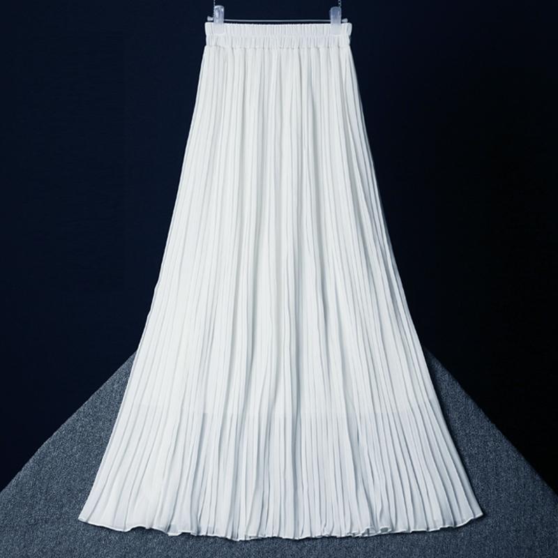 白色半身裙 雪纺半身裙2021夏季新款女黑白色高腰中长款垂感百褶裙大摆长裙子_推荐淘宝好看的白色半身裙