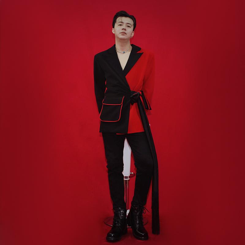 西装男 肖战同款抖音西装男歌手红黑拼接主持人西服外套舞台装演出表演服_推荐淘宝好看的西装男
