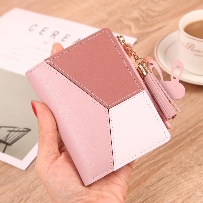 粉红色钱包 钱包女短款学生韩版可爱2019新款时尚超薄简约两折叠零钱包卡包潮_推荐淘宝好看的粉红色钱包