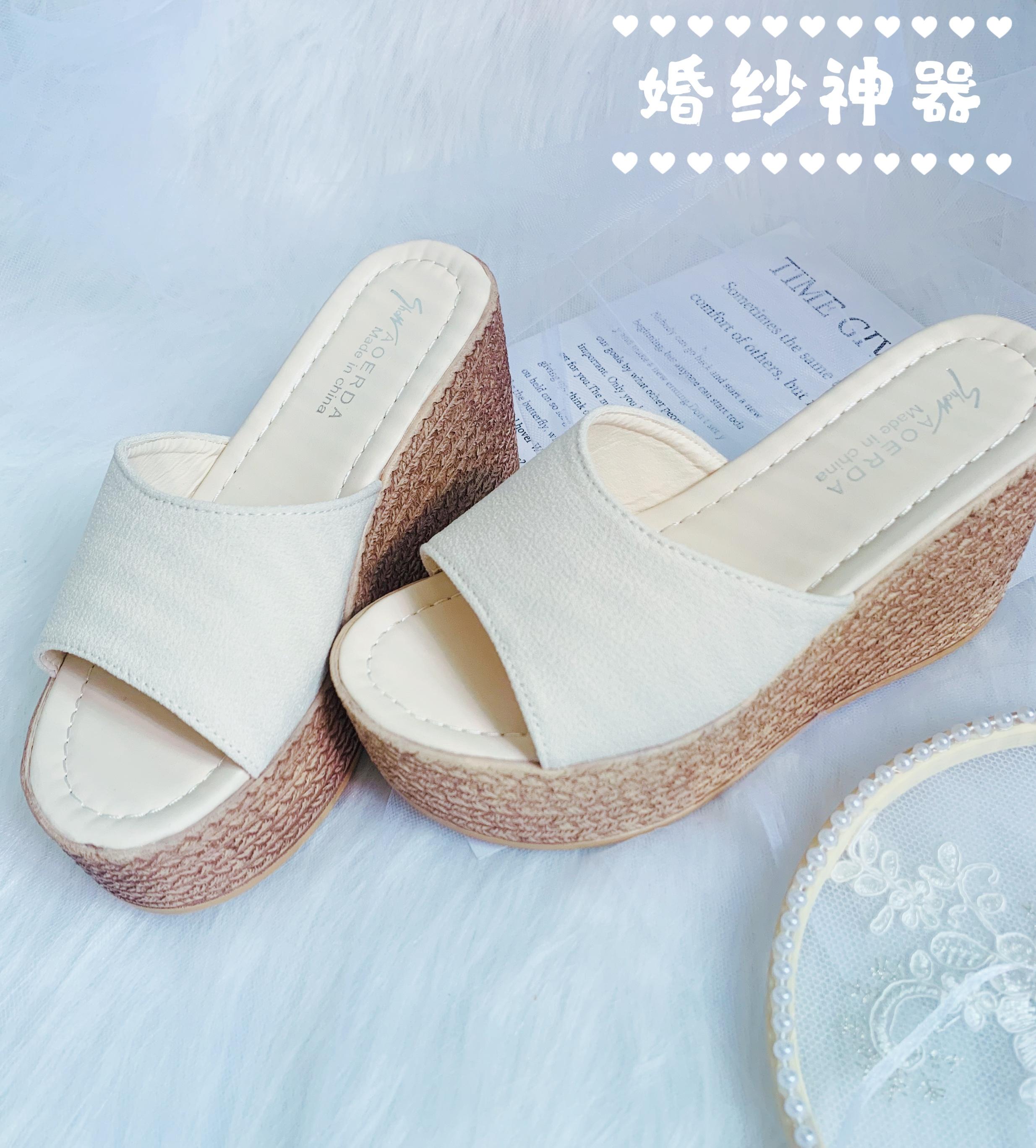 白色松糕鞋 婚纱神器 新娘厚底增高拍婚纱照婚礼单品白色松糕高跟鞋9cm_推荐淘宝好看的白色松糕鞋