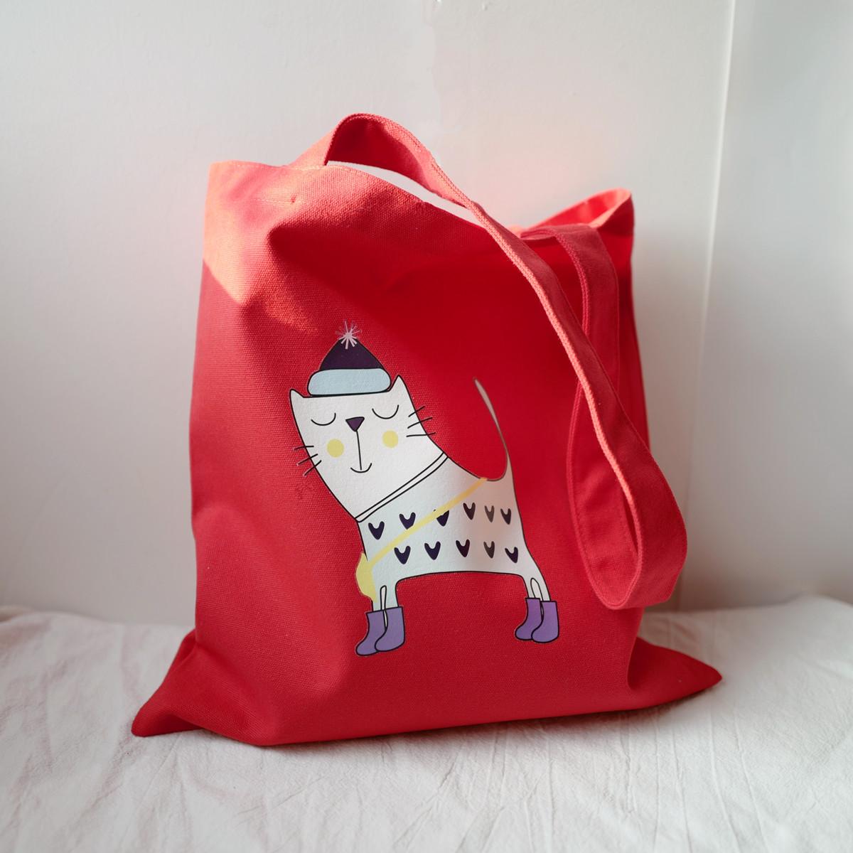 红色帆布包 特价!小巴黎杂货店 简约包包可爱正红色小清新猫咪帆布包 购物袋_推荐淘宝好看的红色帆布包